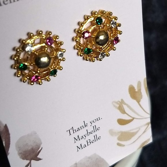 3/$25 sparkly round earrings pink green 'crystals'